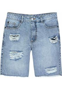Bermuda Jeans Destroyed Masculina Slim