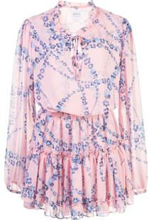 Misa Los Angeles Vestido Mini Com Estampa Floral - Rosa