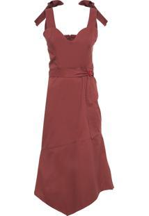Vestido Recorte Retângulo Com Fivela - Marrom