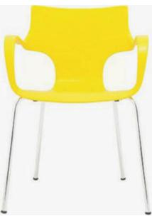 Cadeira Jim Base Fixa Cromado Cor Amarelo - 10327 - Sun House