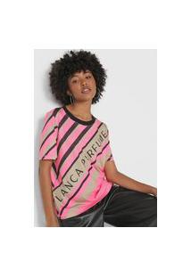 Camiseta Lança Perfume Listrada Neon Rosa/Preta