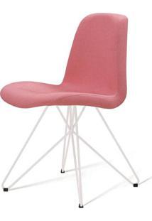 Cadeira Estofada Jacob Rosa Base Aço Branco 46Cm - 62054 - Sun House