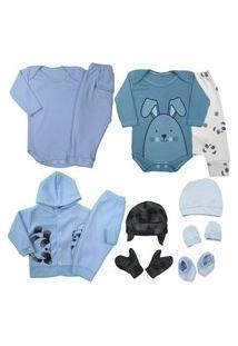 Saída Maternidade Kit 11 Pç Enxoval Roupa De Bebê Body Mijão Azul