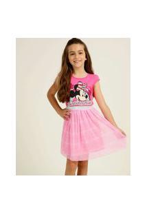 Vestido Infantil Estampa Minnie Glitter Disney Tam 4 A 10