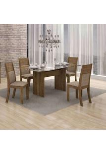 Conjunto De Mesa 120 Cm Com 4 Cadeiras Hawai I Linho Ypê E Bege