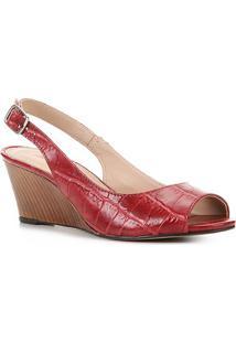Peep Toe Couro Shoestock Anabela Croco - Feminino-Vermelho