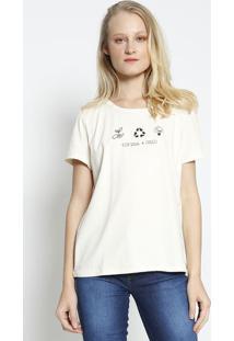 """Camiseta """"Eco Soul Colcci"""" - Off White & Preta - Colcolcci"""