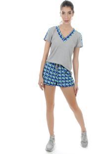 Camiseta Manga Curta Pinyx Oxy Cinza E Estampado