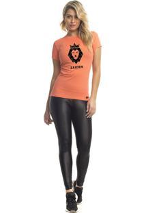 Camiseta Feminina Poliamida Zaiden Rambla Leão Preto