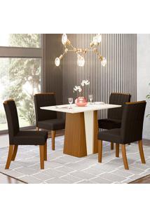Conjunto De Mesa Com 4 Cadeiras Para Sala De Jantar Luanda-Henn - Nature / Off White / Marrom