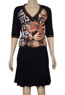 Vestido Fem Moikana 180032 Preto/Ocre