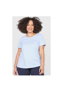 Camiseta Basicamente. Plus Size Lisa Azul