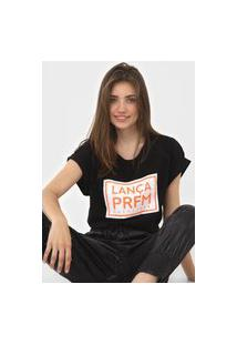 Camiseta Lança Perfume Lettering Neon Preta
