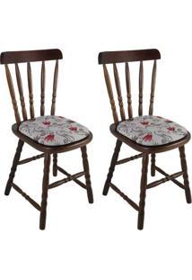 Conjunto 2 Cadeiras De Cozinha Dalas Imbuia E Cinz