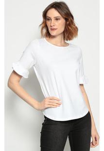 Camiseta Com Babado- Branca - ÊNfaseãŠNfase