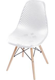 Cadeira Colmeia Com Base Em Madeira Amandiya - Branco