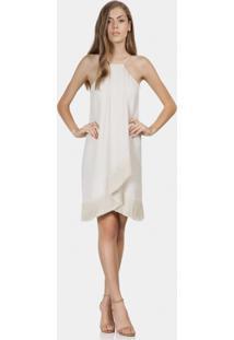 Vestido Com Franjas Em Tecido Bege Valsa - Lez A Lez