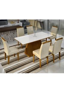 Conjunto Sala De Jantar Mesa Tampo Vidro/Mdf Branco Luna 6 Cadeiras Athenas Luna/Athenas Rufato