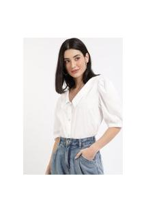 Camisa Feminina Ampla Manga Bufante Branca