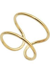 Anel Geométrico Folheado A Ouro- Dourado- Regulável
