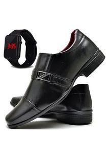 Sapato Social Com E Sem Verniz Fashion Com Relógio Led Dubuy 820El Preto