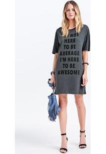 Vestido T-Shirt Em Malha Com Lettering Print