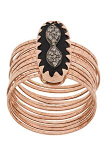 Pascale Monvoisin Anel Bowie N°1 Black Diamond De Ouro Rosé 9K - Dourado