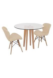 Conjunto Mesa De Jantar Em Vidro 90Cm Com Base Vértice + 2 Cadeiras Slim - Nude