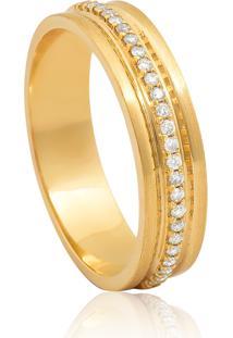 Aliança De Ouro 18K Fosca Com Friso De Diamantes (4,80Mm)