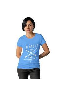 Camiseta Feminina Ezok Respect Azul Claro
