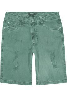 Bermuda Verde Slim Em Sarja Rústic
