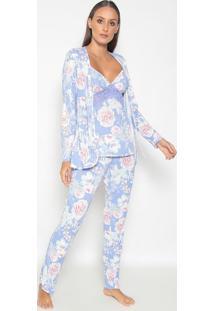 Conjunto De Pijama + Robe Com Renda- Lilã¡S & Branco-Fruit De La Passion