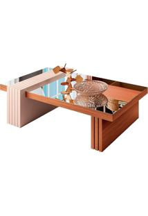 Mesa De Centro Retangular Luna Ii Marrom Nature E Off White