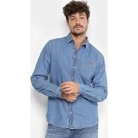36723e273d2fd Camisa Jeans Manga Longa Colcci Masculina - Masculino-Jeans