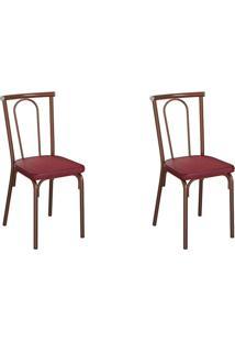 Conjunto Com 2 Cadeiras Albury Vinho E Cobre