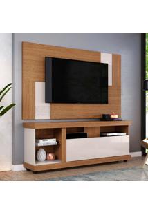 Rack Ilhabela Com Painel Extensível Para Tv Delfos Até 55 Polegadas Natura E Off White