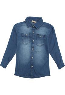 Camisa Jeans Milon Infantil Lisa Azul