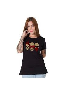 Camiseta Stoned Three Wise Skulls Preto