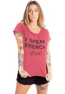 Camiseta De Algodã£O Estonada Le Julie - Vinho - Feminino - Algodã£O - Dafiti