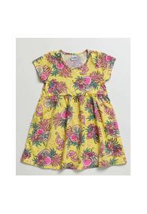 Vestido Infantil Manga Curta Estampa Floral Tam 4 A 10