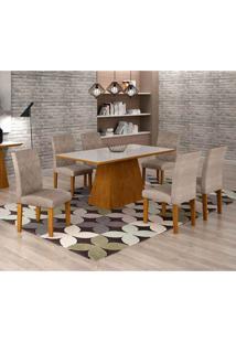 Conjunto De Mesa De Jantar Luna Com Vidro E 6 Cadeiras Ane Suede Amassado Imbuia E Branco