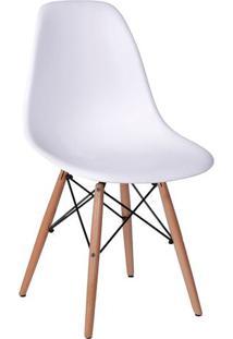 Cadeira Eames Dkr- Branca & Madeira Escura- 80,5X46,Or Design