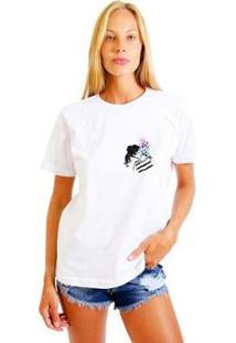 Camiseta Joss Feminina Estampada Galaxy Girl Logo - Feminino-Branco