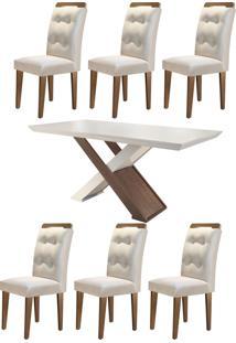 Mesa Imperatriz 180 Tp Mdf Vidro/Canto Reto C/ 6 Cadeiras Rufato