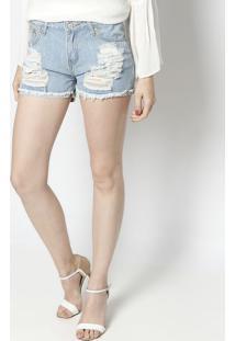 Short Jeans Com Destroyed- Azul Claro- Le Fixle Fix