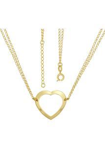 Gargantilha Prata Mil Choker Com Coração Vazado Dourado
