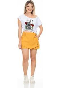 Camiseta Clara Arruda Decote A Fio Feminina - Feminino-Branco