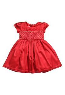 Vestido Infantil De Cetim Com Bordado De Pérolas - Anjos Baby Chic Vermelho