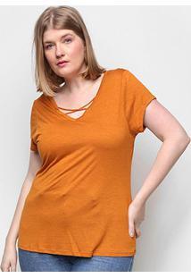Camiseta Lecimar Tiras Feminina - Feminino-Laranja