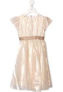 La Stupenderia Vestido De Festa Com Aplicação De Tule - Branco